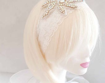 "Headband headpiece wedding or ceremony ""30 years"""