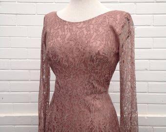 1960s Blush Pink Dusty Rose Lace Dress