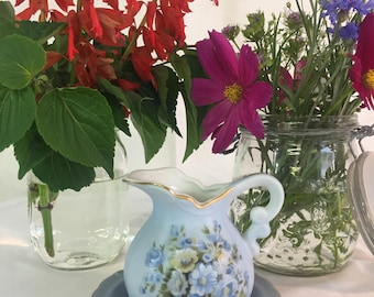Lefton china small blue pitcher and saucer