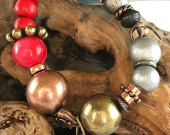 Wildfire - Bohemian Bracelet • Rustic Bracelet • Tribal Bracelet • Boho Bracelet • Bohemian Jewellery • Gift for Her • Gift for Women