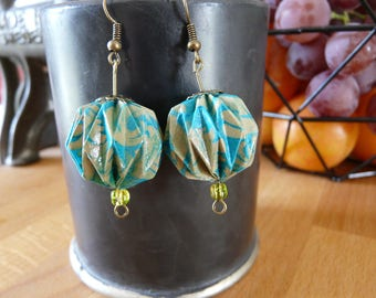 Origami earrings balls turquoise blue print