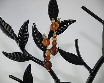 LOOPS of Brown and amber glass beads EARRINGS