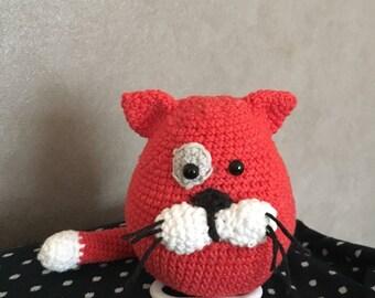 Musical plush cat hooked handmade