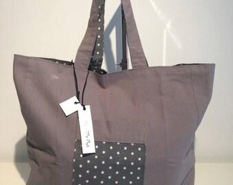 BELLA cotton and printed reversible tote bag