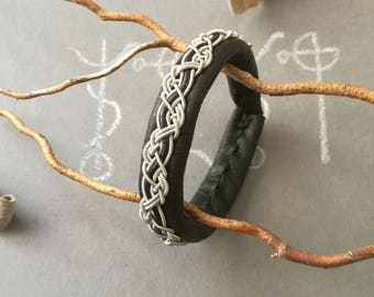 Black Sami bracelet, silver plated pewter wire weave and black leather cord