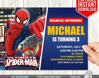 Spiderman invitation editor orderecigsjuicefo spiderman invitation etsy wedding invitations stopboris Choice Image