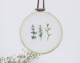 Wildflower Sprig Embroidery Hoop Art / Floral Wall Art