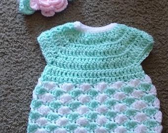 Newborn dress with flower headband
