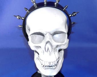 Skull Spiked Leather Headband