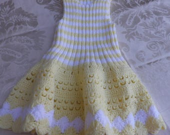 Retro knitted pinafore dress and crochet white and pale yellow
