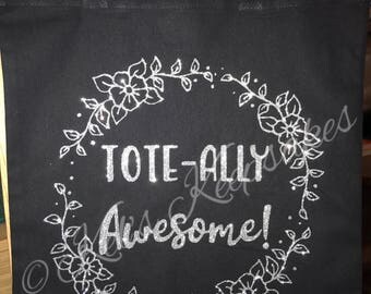 Tote-ally awesome silver glitter tote bag handmade
