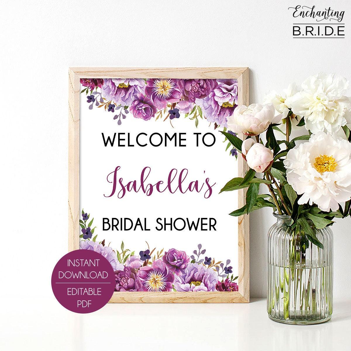 Editable Welcome Sign - Printable Bridal Shower Decor, PDF Template ...