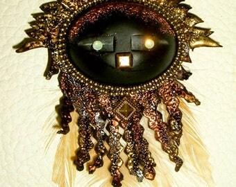 Ethnic leather metal Crystal IMOPOO feathers of ebony Sun pendant
