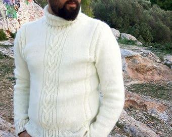 Hand Knitted Men's Pullover / Handmade Men's Sweater / Knit Pullover / Knitted Sweater / Men Cardigan / Hand Knitted Wool Pullover