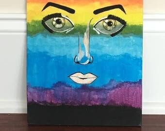 Acrylic Rainbow Gradient Painting