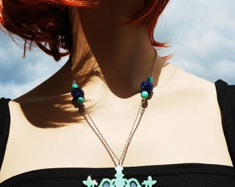 Barocco Navy & turquoise necklace