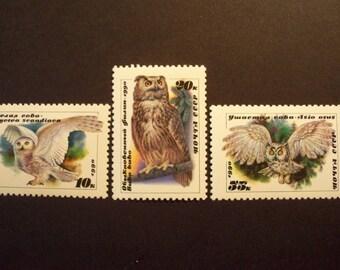 USSR Postage Stamp Set  1990 **OWLS** Complete Set* Scott # 5871-73 MNH