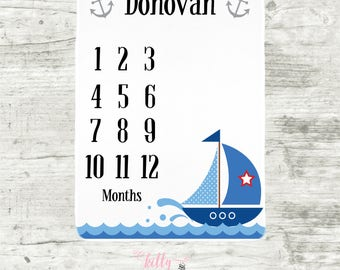 Sailboat Baby Boy Blanket, Baby Boy Milestone Blanket, Baby Boy Nautical, Personalized Baby Blankie, Month Baby Blanket, Baby Boy Blanket