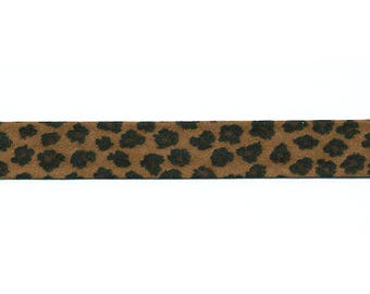 Dark brown Leopard bias by the yard