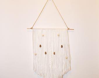 Small Handmade White Beaded Bohemian Wall Hanging