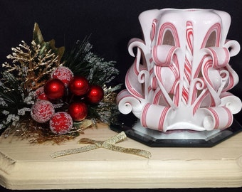 Candy Cane Candle, Christmas Candle, Carved Candle, Scented Candle, White Red Candle, Handmade, Holiday Candle, Unique Gift
