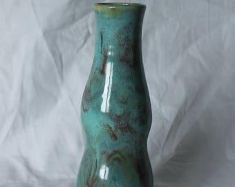 Skinny vase brushed in Molten turquoise glaze