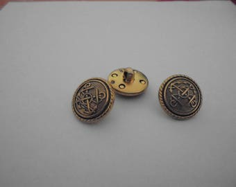 Set of 3 round buttons 18 mm vintage gold tone