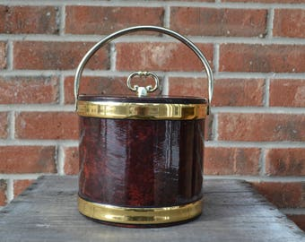 Kraftware Brown and Gold Vinyl Ice Bucket