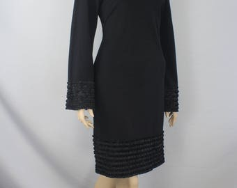 90s dress, vintage 1990s dress, black knee length dress, bell sleeve dress, black casual dress, pullover  dress, midi dress 1990s M medium