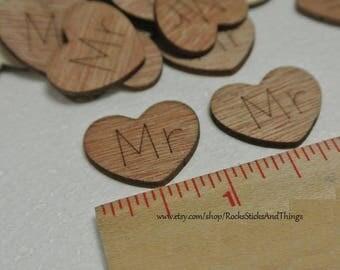 Wood Heart Confetti, Bridal