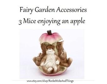 Fairy Garden Miniatures, Mice and Apple