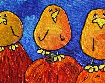 PUMPKIN POUTER ~Whimsical Bird Art w Personality ~ Autumn ~ Colorful Birds ~ Joyful Art ~ Cheerful Gift ~ Unique Custom Birds ~ LimbBirds