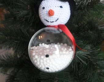 9 cm, hook and transparancy hanging snowman