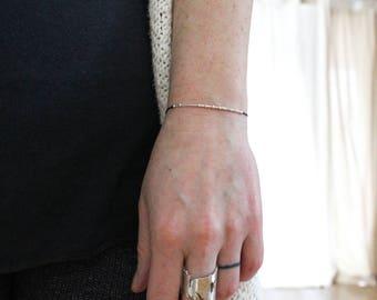 ROCKSTAR .|. ||| .|.| |.| ... | .| .|. Morse Code Bracelet - Secret Message in Sterling Silver - Minimal jewelry Gifts for Her