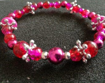 410. Beaded Crystal Bracelet (Fuscia)