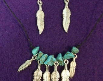 Turquoise and Silver Feathers Necklace with Matching Earrings