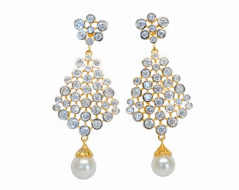 Lab Diamond Mesh/Filigree Pearl Cubic Zirconia Droplet CZ 24K Gold-plated Drop/Dangle Earrings