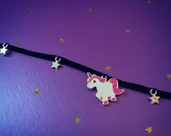 Unicorn star suede choker necklace