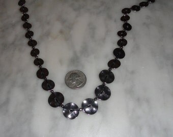Vintage Hammered Graduated Size Coin Necklace Strung on Black Cord Long SHIPS FREE