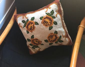 Embroidered Crochet Vintage Pillowcase
