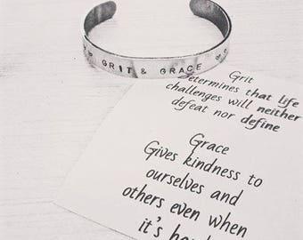 Handstamped Bracelet Cuff. Grit & Grace Cuff