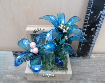 blue flowers in box