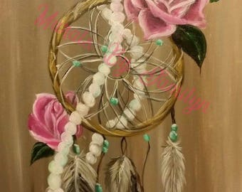 Pink Roses & Pearls Dreamcatcher Art Print 13 x 19