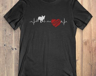 French Bulldog Dog T-Shirt Gift: French Bulldog Heartbeat
