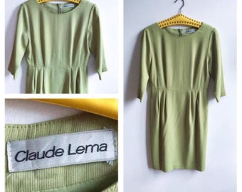 80's Vintage || Dress || Green || Claude Lema || Size M