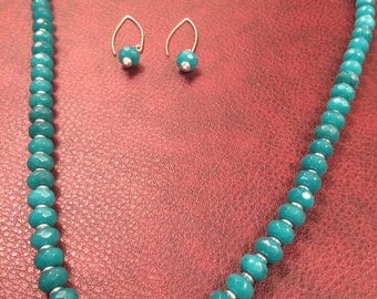 Elegant Teal Blue Opal and Silver Necklace and Earrings Set (22.5 inches)