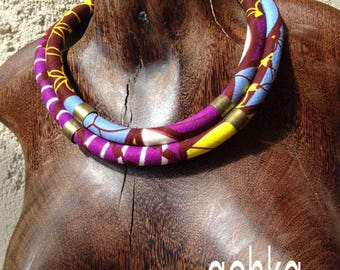 Yellow-blue-purple DOUBLE NECKLACE WAX