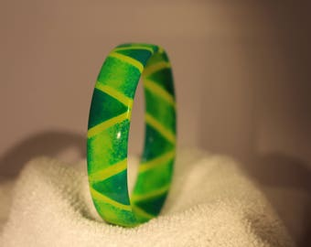 Green & yellow bangle - handmade upcycled plastic