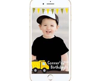 Truck Birthday Snapchat Geofilter -- birthday fun filter diy customized party custom personalized personalize custom star boy trucks dump