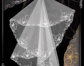Wedding veil, veil for wedding, embroidered veil N 20.